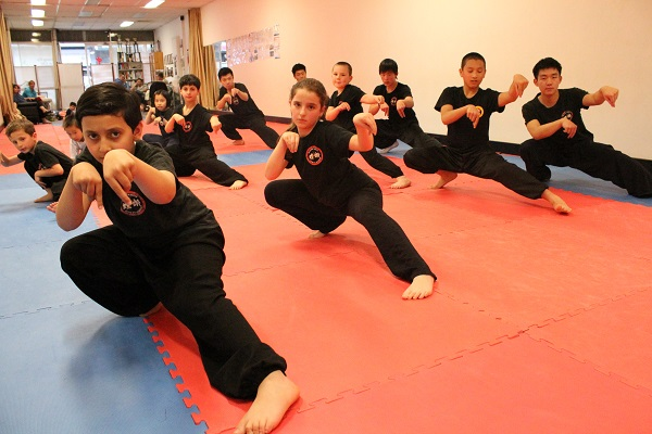 Kids Practicing Kung Fu